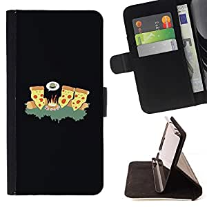 DEVIL CASE - FOR Sony Xperia M2 - LOL Funny Pizza Fire - Style PU Leather Case Wallet Flip Stand Flap Closure Cover