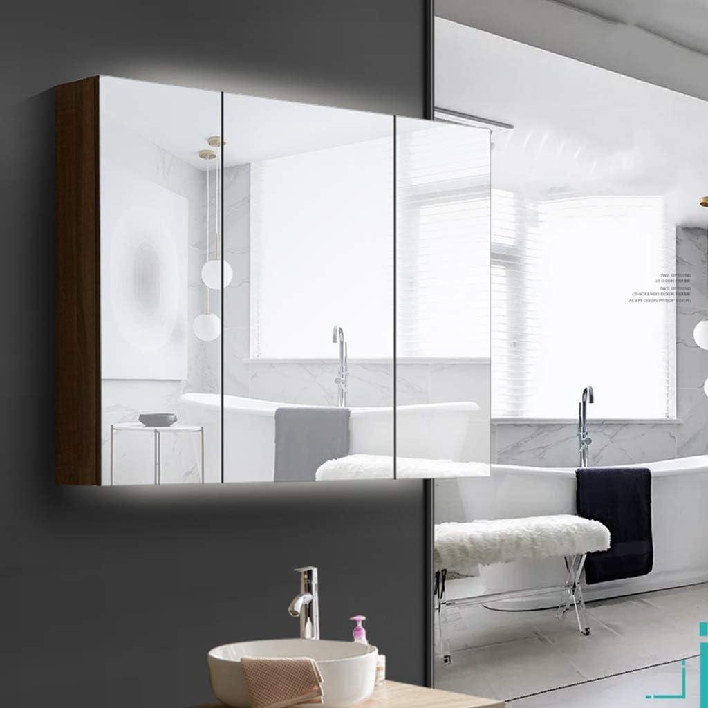 Color : Brown, Size : 90 * 13.5 * 68cm Armadietti a specchio per Bagno Armadietto per medicinali in Legno massello Armadio a Muro Impermeabile Specchio con ripiano Ripiano Regolabile