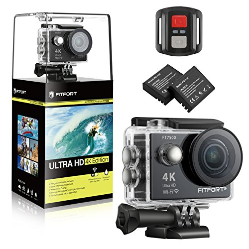 FITFORT FT7500 Action Camera, 4K Ultra HD Wifi Waterproof 170 Degree Wide Angle 12 MP DV Camcorder Sports Camera with 2.4G Remote Control 2Pcs 1050mAh Batteries 19 Mounting Kits(2017 New) - Wearable Football Helmets