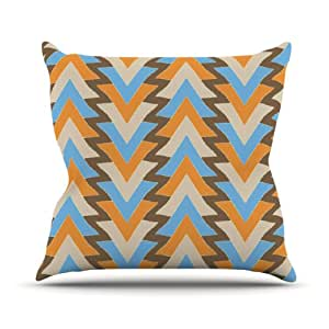 """Kess InHouse Julia Grifol """"My Triangles in Blue"""" Aqua Orange Outdoor Throw Pillow, 16 by 16-Inch"""