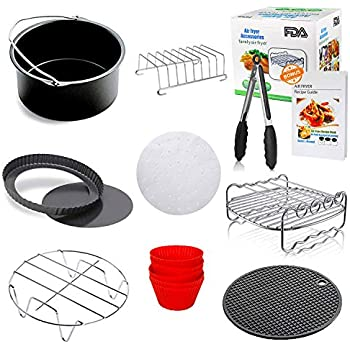 8 inch XL Air Fryer Accessories Set of 10 Fit all Growise Phillips Cozyna Air Fryer 5.3QT - 5.8QT FDA Approved BPA Free by Apluskis