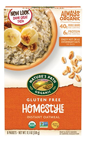 Nature's Path Organic Gluten-Free Instant Hot Oatmeal, Homestyle, 11.3 Ounce (Pack of - Natures Grain Whole Path