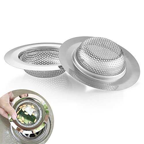 Kitchen Sink Strainer, Cozzine 4.5 Inch Dia Stainless Steel Sink Drain Cover Garbage Disposal Filter Large Wide, Kitchen Trash Strainer Fits Well On Drain, Pack of ()