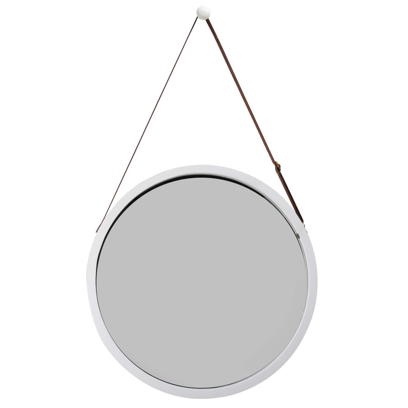 Specchio da Parete Rotondo per corridoio Bianco 38 cm ZRI Bamboo con Cintura in Pelle Regolabile 38 cm