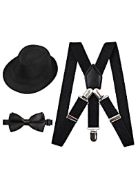 Alizeal Kids Elastic Clip Suspenders with Pre-tied Bow tie and Hat Set(Black)