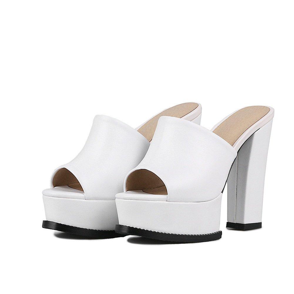 NVXIE Mujeres Ponerse Mulas Sandalias Medio Alto Bloque de Tacón para Mujer Prom Vespertino Zapatillas Blanco Negro Cuero Zapatos Tamaño, Blanco, EU 39/UK 6 EU 39/ UK 6|Blanco