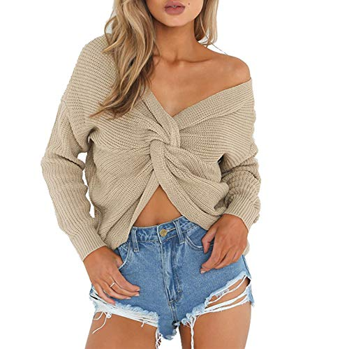 Nu Tricot Sweater Pull Dos Femme Blouse Beige Chandail en Sexy Asymtrique Wrap Pullover Top V Jumper Cross Col wqUUzX1