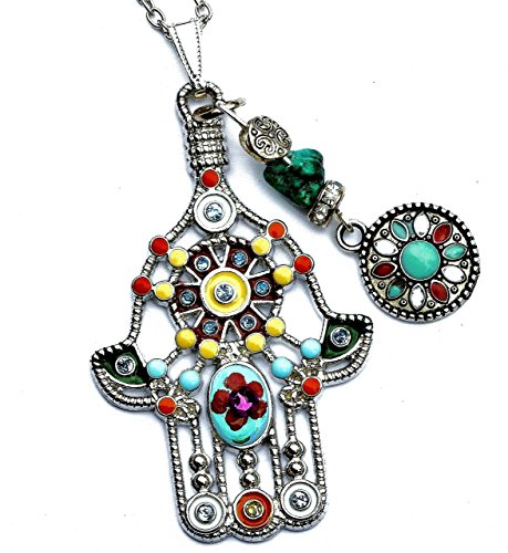(Hamsa Hand Necklace with Painted Flower Swarovski Crystal Rhinestone & Genuine Turquoise Nugget)