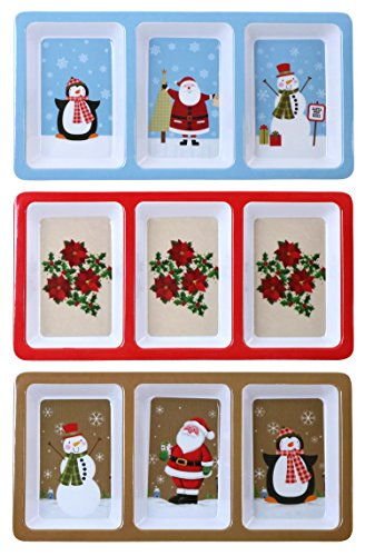 Iconikal Melamine 3 Section Tray For Hors D'oeuvres, Christmas Theme, 12 x 6 Inch, 3 - Santa Plastic Christmas