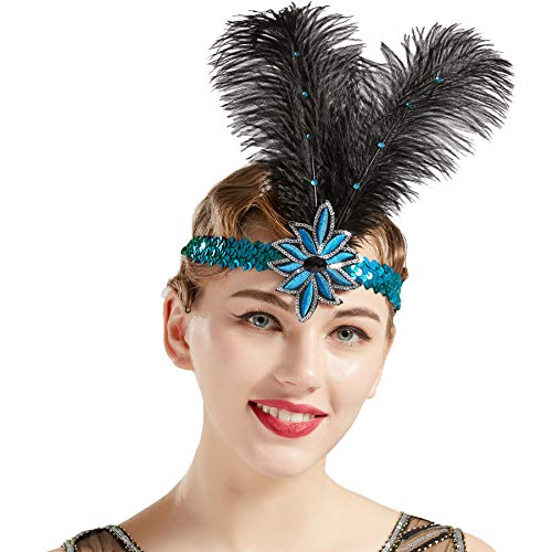 BABEYOND 1920s Flapper Headband Roaring 20s Sequined Showgirl Headpiece Great Gatsby Headband with Black Feather (Black Blue)]()