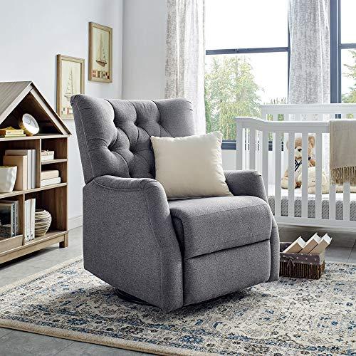Classic Brands Cynthia Popstitch Upholstered Glider Swivel Rocker Chair, Metal