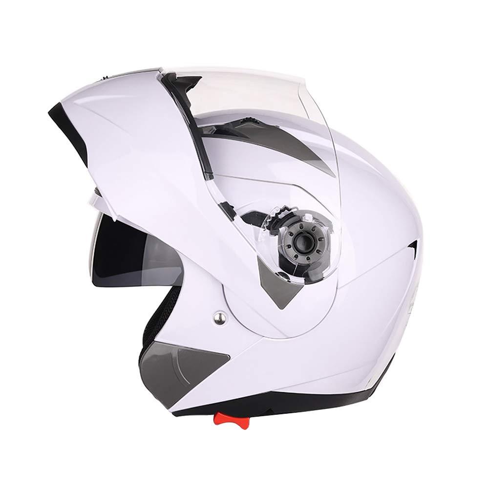 Casque de Moto approuv/é pour Le Visage avec /écran Pare-Soleil Crash Chopper Folconauto Casque de Scooter Moto Blanc L