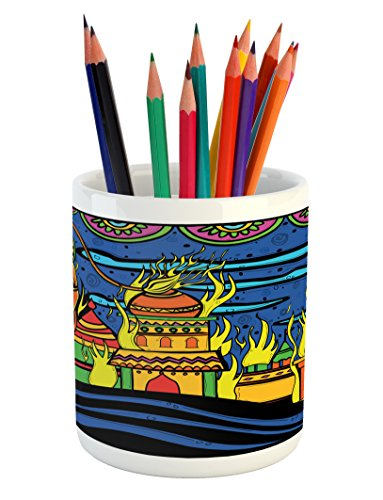 Ambesonne Psychedelic Pencil Pen Holder, Ethnic Spiritual Faith Prince Eastern Tribal Ancient Oriental Bohemian Image, Printed Ceramic Pencil Pen Holder for Desk Office Accessory, Orange Blue by Ambesonne