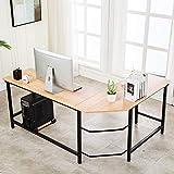 Ulikit Modern Computer Desk L Shaped Corner Desk Home Office Wood & Metal Laptop PC Table Writing Study Table Studio Desk 66' x 49' x 29'(Oak)