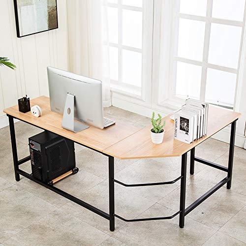 Ulikit Modern Computer Desk L Shaped Corner Desk Home Office Wood & Metal Laptop PC Table Writing Study Table Studio Desk 66