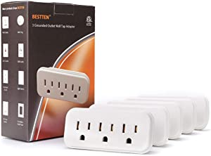 [5 Pack] BESTTEN 3 Outlet Wall Tap Adapter, AC Socket Extender, Mini Grounded Plug Splitter, ETL Certified, White
