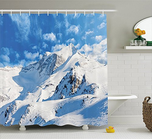 [Lake House Decor Shower Curtain Mountain Landscape Ski Slope Winter Sport Telfer and Snowboarding Image Fabric Bathroom Decor Set with Hooks White] (The Pope Costume At The White House)
