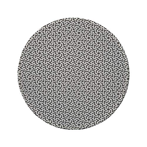 Non-Slip Rubber Round Mouse Pad,Abstract,Arabic Surreal Shapes Pattern Stars and Lines with Curve Pastel Tone Illustration Decorative,Taupe White,7.87