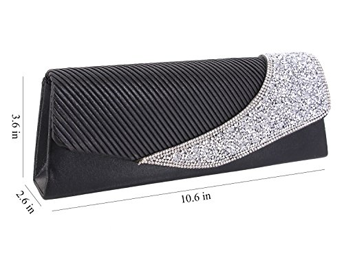 Bag Evening Chain D02 black Dazzling Naimo Clutch Detachable Ladies With Bag Flap XwYvqvxpSH