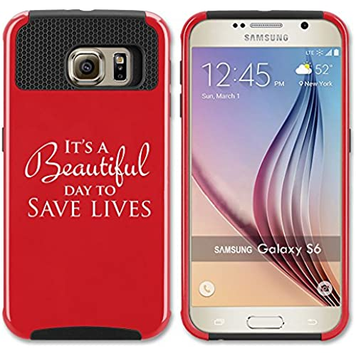 Samsung Galaxy S7 Shockproof Impact Hard Soft Case Cover It's A Beautiful Day To Save Lives (Red) Sales