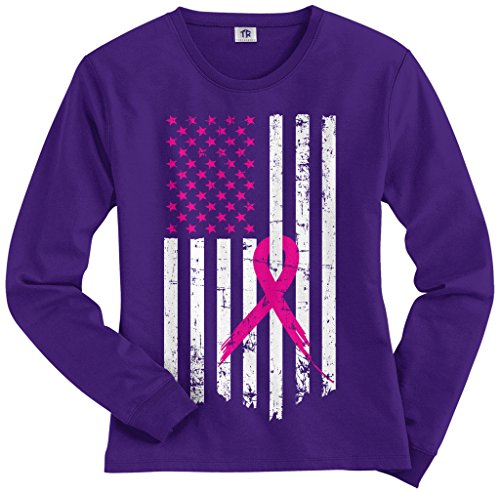 Threadrock Women's Pink Ribbon Breast Cancer Awareness Flag Long Sleeve T-Shirt XL Purple (Purple Sleeve Ribbon Long)