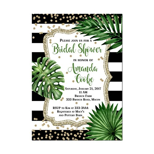 Tropical Leaves Monstera Plant Bridal Shower Invitations with Black and White Stripes and Gold Glitter Look, Set of 10 invitations with white envelopes - Green Modern Leaf Stripe