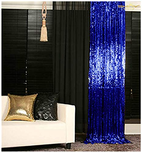 3FTX6FT-Royal Blue Sequin Backdrop Photo Booth Curtain Blue Sequin Fabric Wedding/Birthday Christmas Decorations (Royal Blue)]()