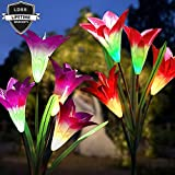 Best Solar Lights Outdoor Solar Flower Lights Solar Garden Lights Multi Color Solar Flowers Light Waterproof Led Garden Stakes Solar Powered Lillies Lights Backyard Lawn Yard Patio Decorations Lily Li