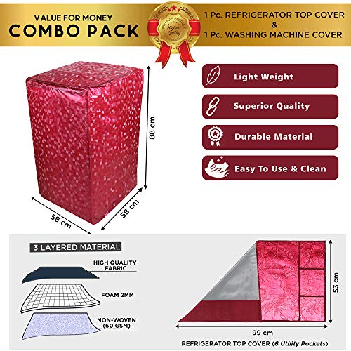E-Retailer® Combo Set of Top Load Washing Machine Cover for 5kg to 7.5Kg and Fridge Top Cover (Red, Set of 2 Pc) 51PZo9rmT1L India 2021