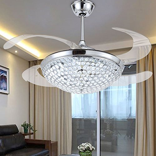 4 Room Kit (RS Lighting Crystal LED Ceiling Fans Light-42 Inch Transparent 4 Blades Mordern Fan Chandelier-for Indoor, Living Room, Dining Room, Bedroom and Restaurant House Ceiling Light Kits (Chrome))
