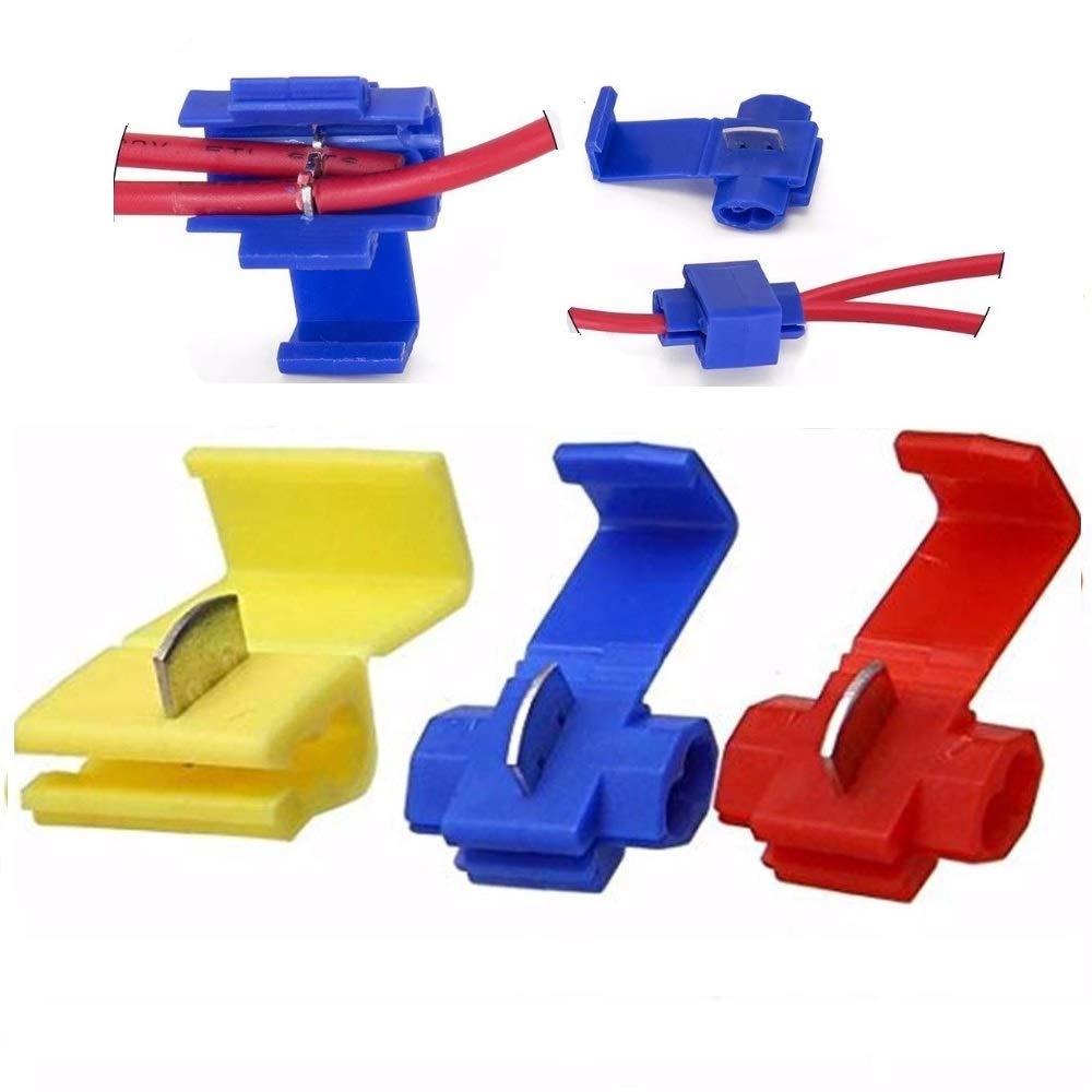 G/·PEH 125 Solderless Quick Splice Snap Wire Connector 50 pcs red 22 Through 18 Gauge,50 pcs Blue 16 Through 14 Gauge,25 pcs Yellow 12 Through 10 Gauge