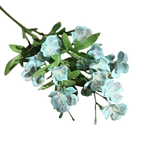 Hot Sale!!Woaills Wedding Home Decor - Bouquet Phalaenopsis Butterfly Orchid Artificial Silk Flower (Blue) (Wine And Flowers Delivered)