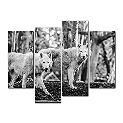 Wall Art Decor Poster Painting On Canvas Print Pictures 4 Pieces Two White Arctic Wolfs In The Woods In Winter In Black And White Animal Wolf Framed Picture For Home Decoration Living Room Artwork