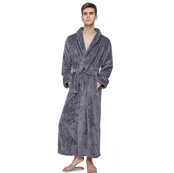 SHANGXIAN Largo Bata Baño Homewear Vestido Mujeres/Hombres Albornoz Franela Camisón Calentar Batas De Baño,Gray(Male),L: Amazon.es: Hogar