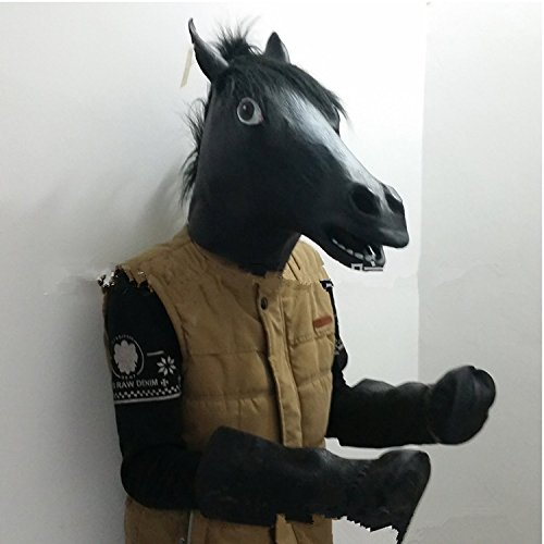 FAMI Halloween Latex Black Horse Head Mask with 1 Pair Hooves Gloves