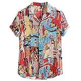 iYBUIA Men's Cotton Printed Hawaiian Loose Beachwear Lapel Short Sleeve Sunscreen Breathable Henry Buttons Shirt M-XXL Red