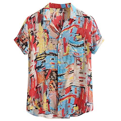 - GDJGTA Shirts for Mens Hawaiian Printed Cotton Linen Loose Short Sleeve Casual Buttons T-Shirt