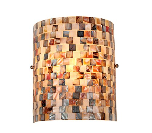 (Chloe Lighting CH3CD28BC08-WS1 Shelley Mosaic 1-Light Wall Sconce, 9.8 x 8.3 x 4.1