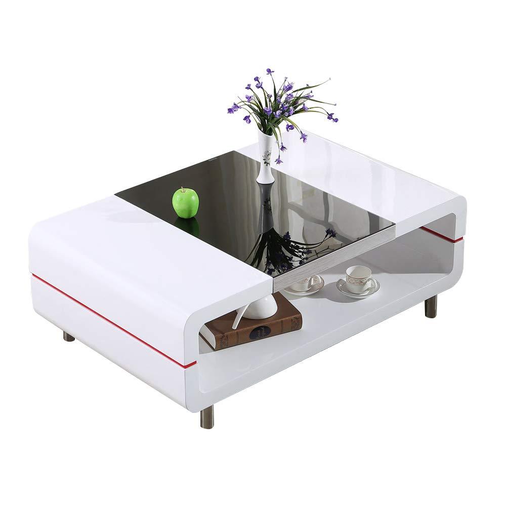 mecor Design Modern High Gloss White Black Coffee Table for Living Room Furniture (White 2 Levels)