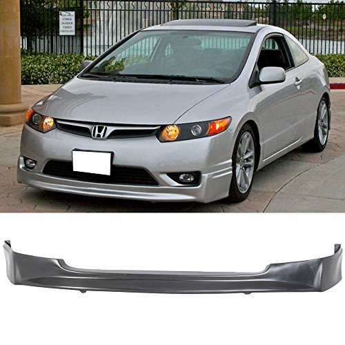 Front Bumper Lip Fits 2006-2008 HONDA CIVIC 4 DOOR SEDAN | DM Style PU Black Front Lip Spoiler Splitter by IKON MOTORSPORTS | 2007 ()
