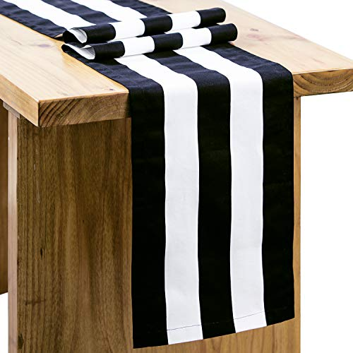 Letjolt Classical Black Striped Table Runner Cotton Fabric Runner Homecoming Party Table Runner Wedding Party Decoration Birthday Party Baby Shower Dinner Table Decor, 12'' x 108'' (Table Settings For Weddings Black And White)