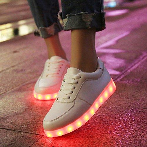Accendono Bianco Sneakers con Scarpe Scarpe DoGeek LED Luminosi Luci Sportive Le Unisex Adulto wfwXqz7