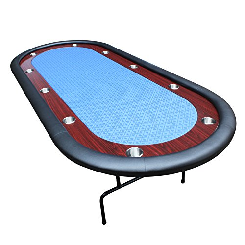 IDS Poker Texas Hold'em Poker Table for 96 x 43 Inch Oval 10 Players Blue High Speed Racetrack Cup Holders Foldable Legs ()