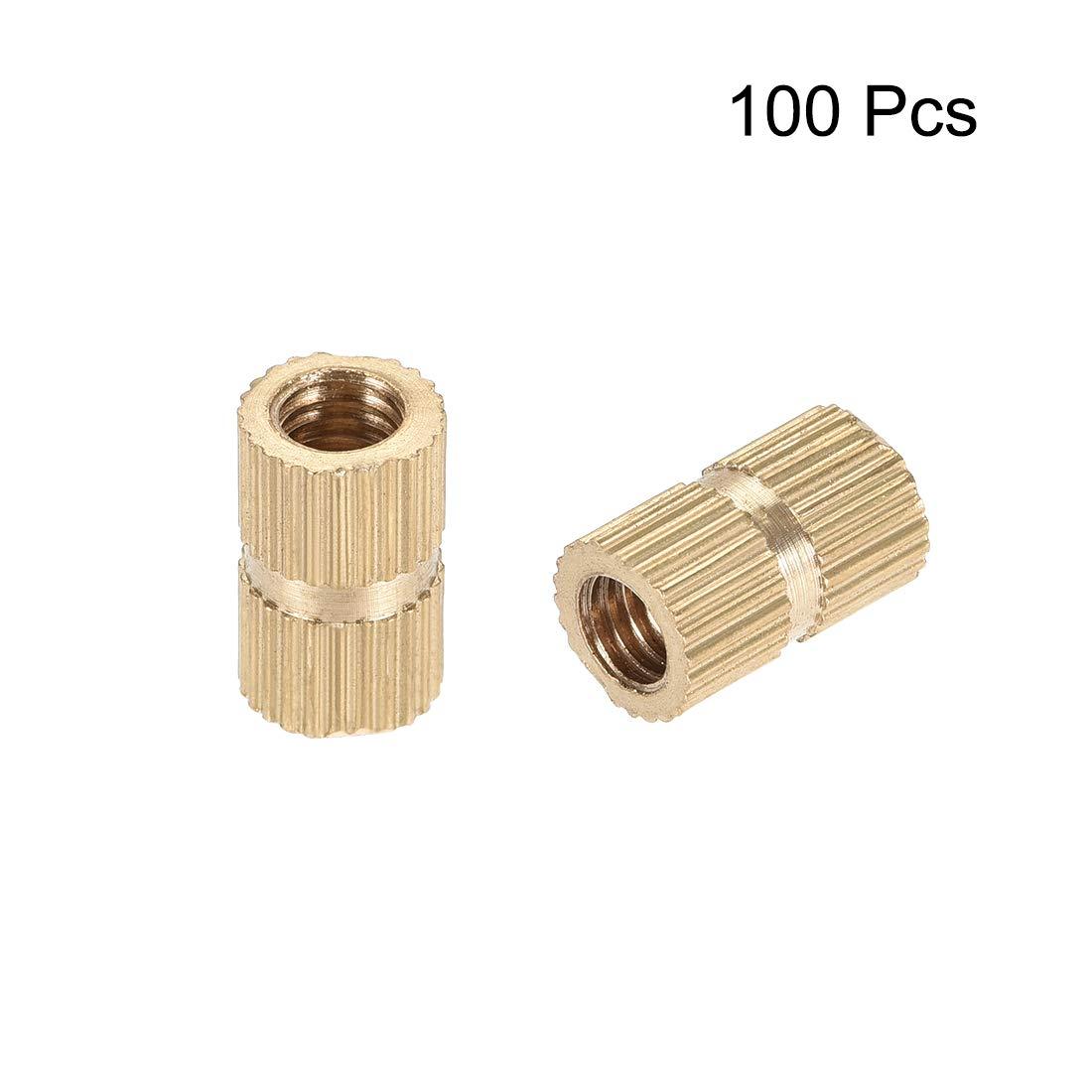 x 6mm M4 x 4mm 100 Pcs L uxcell Knurled Insert Nuts Female Thread Brass Embedment Assortment Kit OD