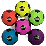 Atomic Athletics 6 Pack of Neon Rubber Playground Soccer Balls - Youth Size 4, 8'' Balls with Air Pump and Mesh Storage Bag by K-Roo Sports