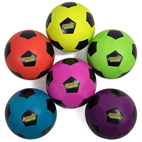 Atomic Athletics 6 Pack of Neon Rubber Playground Soccer Balls - Youth Size 4, 8