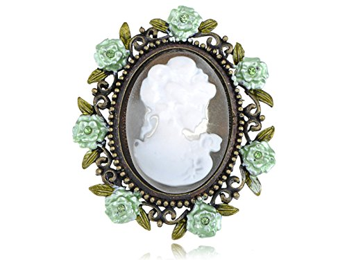(Alilang Antique Golden Tone Mint Green Vintage Floral Cameo Lady Woman Brooch Pin)