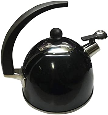 2.5 LITRE METALLIC BLACK STAINLESS STEEL WHISTLING KETTLE GAS ELECTRIC HOBS