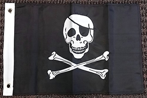 (Ramsons Imports Pirate Jolly Roger Nylon Embroidered 12x18 Inch Boat Flag Skull Banner New )