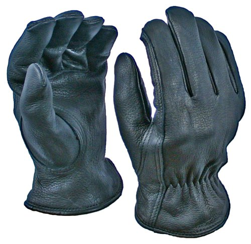 Mens Black Deerskin Leather (Black Deerskin Driver with Thinsulate Lining, Size X-Large)